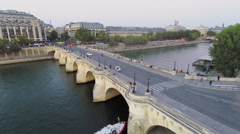 City traffic on Pont Neuf and Voie Georges Pompidou Stock Footage