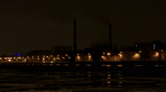 Night view of the Sinop waterfront in St. Petersburg, Russia. Full HD Stock Footage
