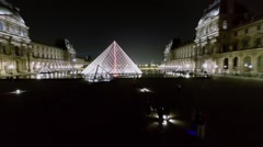 Louvre square with Pyramid near museum in edifice of Royal Palace Stock Footage