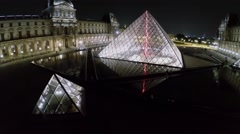 Louvre Pyramid and water of fountains near museum Stock Footage