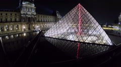 Reflection of Louvre Pyramid in water of fountains Stock Footage