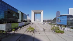 Business centre La Defense with La Grande Arche de la Defense Stock Footage