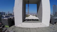La Grande Arche de la Defense against cityscape Stock Footage