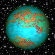 Abstract blue, green, orange and red planet with black sky and stars Stock Illustration