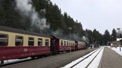 4k Steam locomotive arrive station winter forest Harz Stock Footage