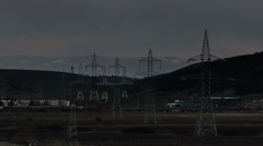 Stock Video Footage of Eastern Europe Power lines covering landscape storm passing time lapse Romania