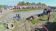 Sportsman gets rope to help off-road vehicle Stock Footage