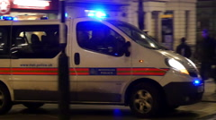 White police car with siren on - stock footage