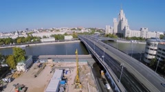 Construction site near Bolshoy Ustyinsky bridge at autumn Stock Footage