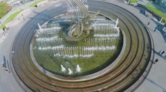 Fountain Rape of Europa on Europe Square at autumn sunny day Stock Footage