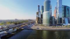 Cityscape with transport traffic on Dorogomilovskiy bridge Stock Footage