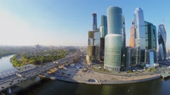 Moscow International Business Center near Dorogomilovskiy bridge Stock Footage