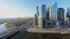 Traffic on Third Transport Ring near Moscow Business Center Stock Footage
