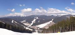 Mountain view at the Bukovel ski resort Stock Photos