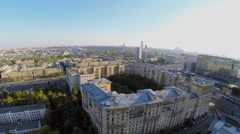 City panorama with traffic on Dorogomilovskiy bridge Stock Footage