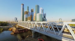 Traffic on Third Transport Ring near skyscraper complex Moscow City Stock Footage