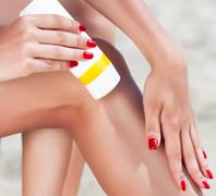 Sun protection for the legs - stock photo