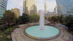 Love park with fountain not far from City Hall at autumn Stock Footage