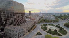 Cityscape with traffic on Logan Square at autumn evening Stock Footage
