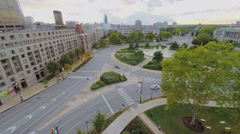 Car traffic on Logan Square at autumn evening. Aerial view Stock Footage