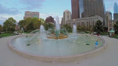 Swann Fountain on Logan Square with car traffic at autumn Stock Footage