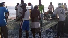Fisherman taking fish from net,Arugam Bay,Sri Lanka Stock Footage