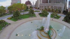 Several people get rest around Swann Fountain on Logan Square Stock Footage