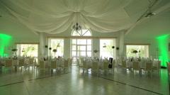 Beautifully decorated wedding hall Stock Footage