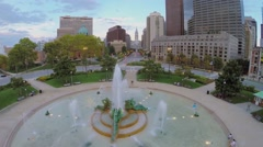 Logan Square with Swann Fountain at autumn evening. Stock Footage
