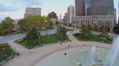 Logan Square with people get rest around Swann Fountain at autumn Stock Footage