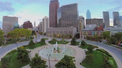 Logan Square with Swann Fountain and Cathedral Basilica Stock Footage