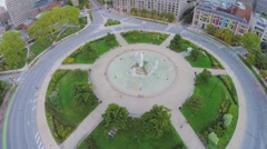Logan Circle and Swann Fountain at autumn evening. Aerial view Stock Footage