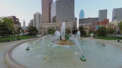 Swann Fountain on Logan Square with transport traffic at autumn Stock Footage