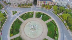 Panorama of Logan Square with Swann Fountain at autumn Stock Footage