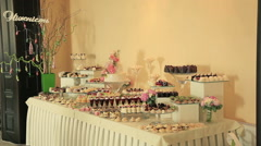 Buffet table with sweets at a wedding Stock Footage