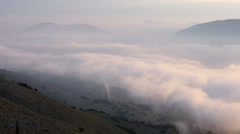Morning summer mountain cloudy landscape (Kefalonia, Greece). Stock Footage