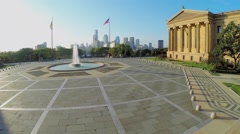 Fountain near Philadelphia Museum of Art at autumn sunny day Stock Footage