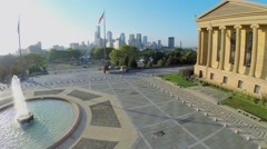 Square with fountain and flags near Philadelphia Museum of Art Stock Footage