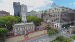 Chestnut street with Independence Hall and Congress Hall Stock Footage