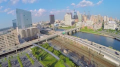 Panorama with car traffic on Walnut Street at autumn Stock Footage