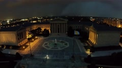 Edifice of Philadelphia Museum of Art at night. Aerial view Stock Footage