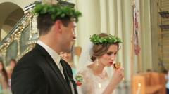 Wedding ceremony communion - stock footage