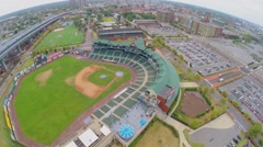 Cityscape with baseball stadium Campbells Field at autumn Stock Footage