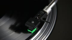 Playing spinning gramophone record and needle Stock Footage