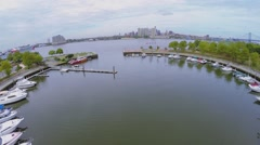 Many vessels are on moorage in Wiggins Park and Marina Stock Footage