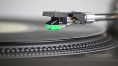 Needle Onto Record And Starts Play Turntable Stock Footage