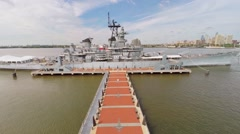 Museum battleship USS New Jersey (BB-62) at autumn day Stock Footage