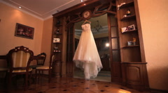 Wedding dress in a beautiful room Stock Footage