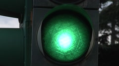 green traffic light, europe, italy, old stile. - stock footage