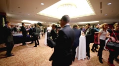 People and journalists at the tables in hall of Lotte Hotel Moscow Stock Footage